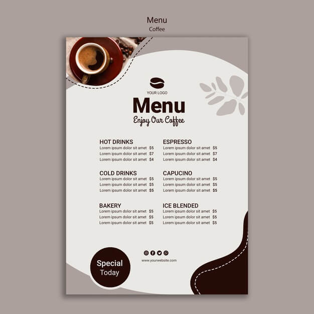 Coffee menu template with special Free Psd (1)