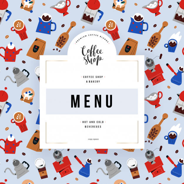 Coffee shop menu cover, template with illustrations of coffee shop utensils Premium Vector (1)