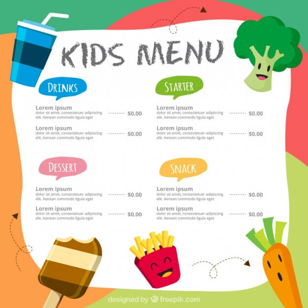 Colorful menu for kids Free Vector