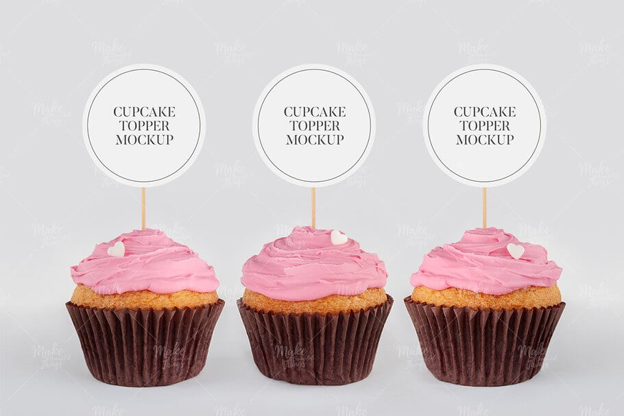 Cupcake toppers mockup