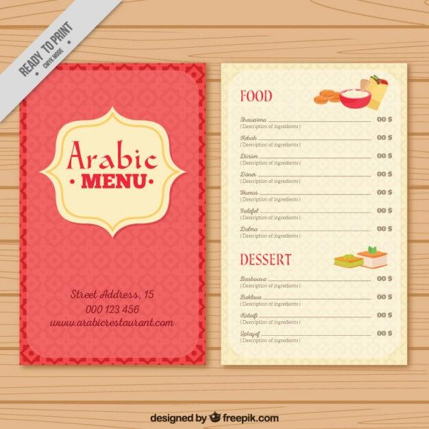 Cute arab menu template Free Vector