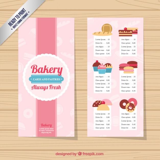 Cute bakery menu template Free Vector