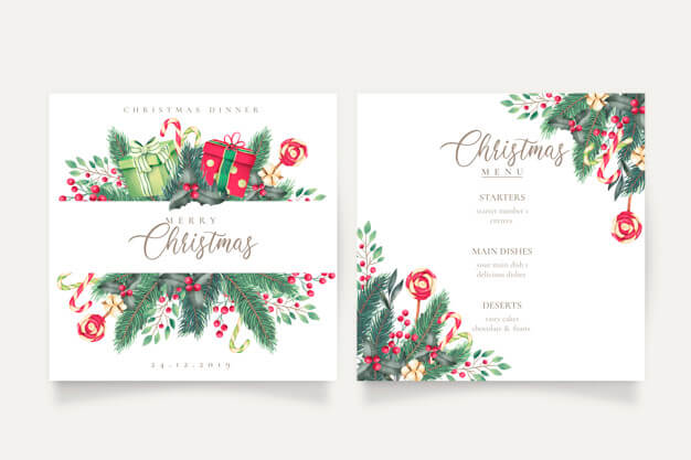Cute christmas menu and card template Free Vector