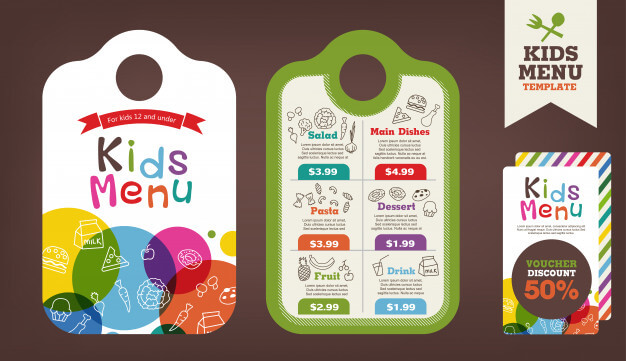 Cute colorful kids meal menu template Premium Vector