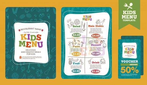Cute colorful kids meal menu template Premium Vector1