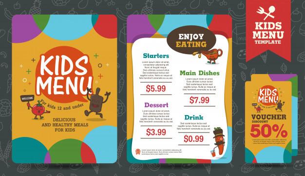 Cute colorful kids meal menu template Premium Vector12