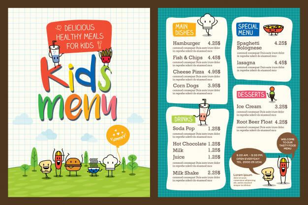 Cute colorful kids meal menu template Premium Vector4