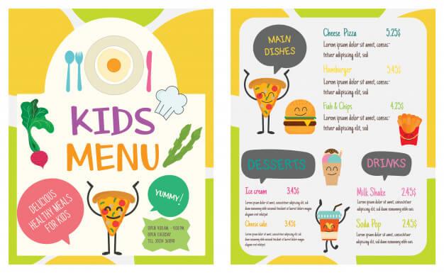 Cute colorful kids meal menu vector template Premium Vector1
