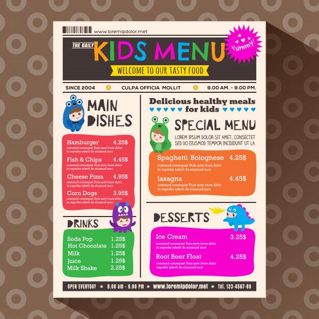 Cute colorful vibrant kids menu template in newspaper style Premium Vector