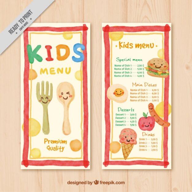 Cute menu for kids painted in watercolor Free Vector