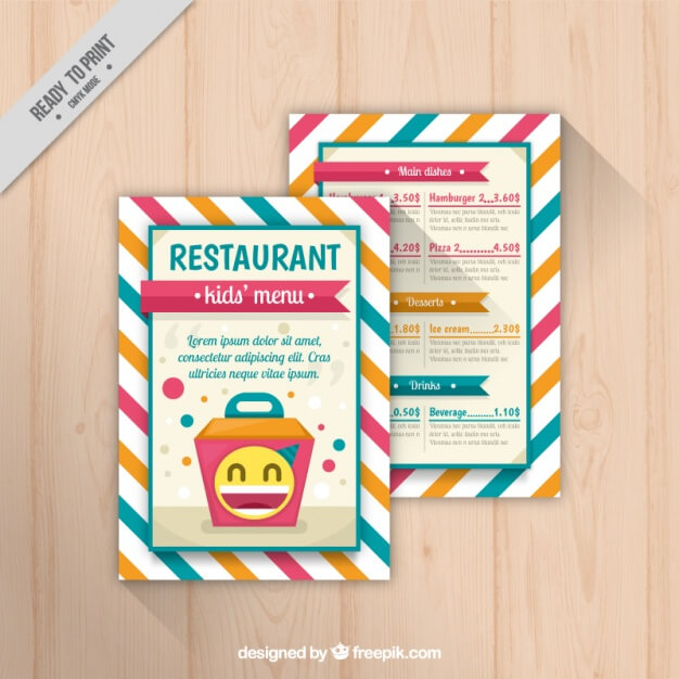 Cute menu for kids with striped background Free Vector
