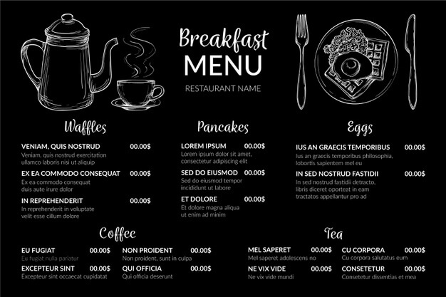 Digital breakfast menu horizontal format Free Vector