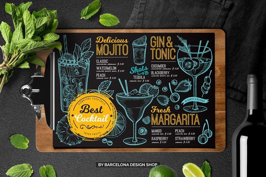 FREE! Trifold + Cocktail Bar Menu