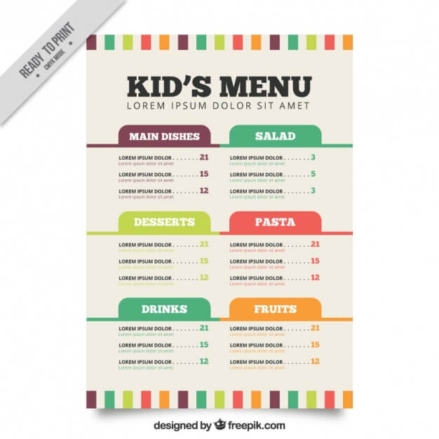 Flat menu template for kids Free Vector