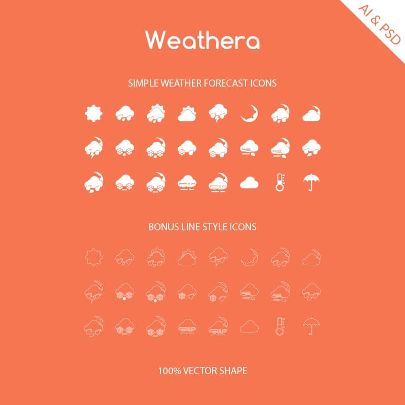 Free 40+ Weathera - Simple Weather Vector Icons