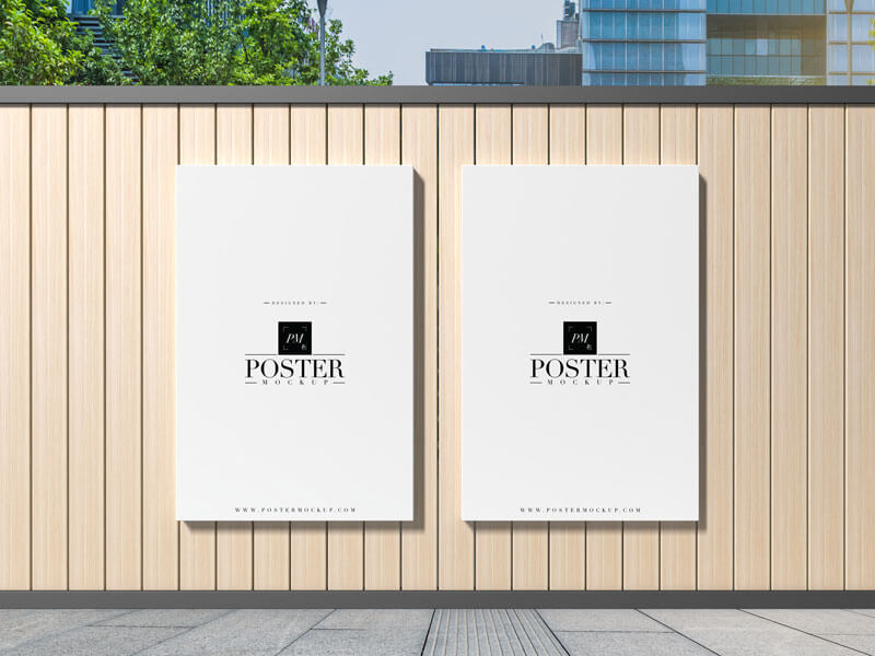 Free Abstract Concrete Wooden Exterior Poster Mockup PSD Template4