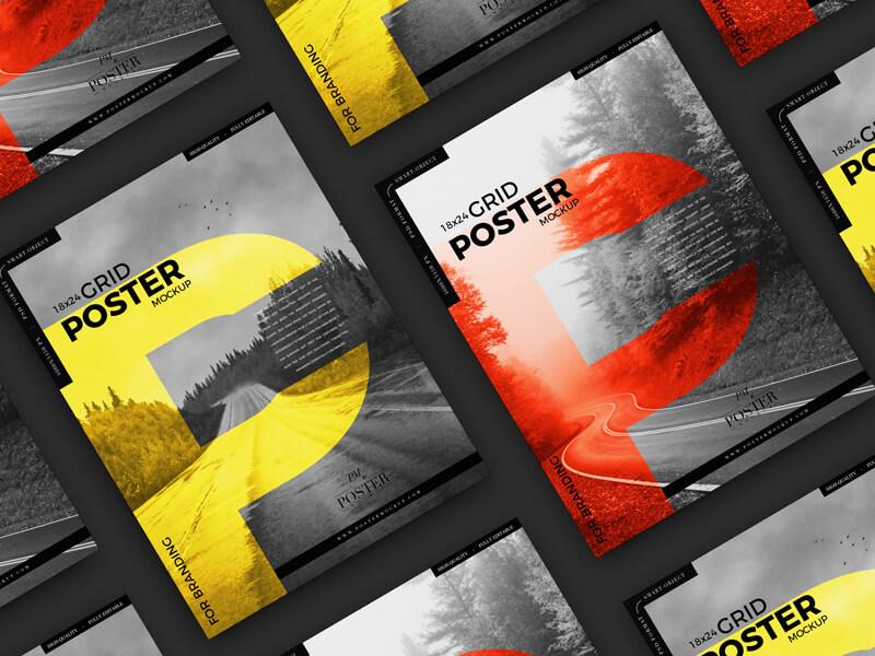 Free Advertising 18×24 Grid Poster Mockup2