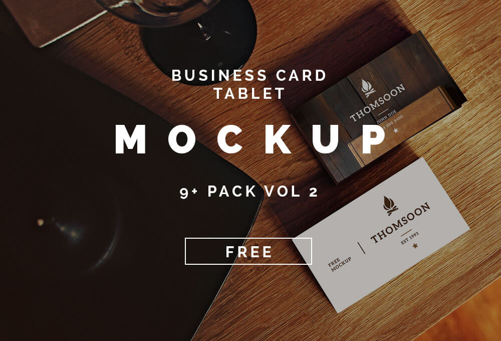 Free Business Card and Tablet Mockups PSD Template1