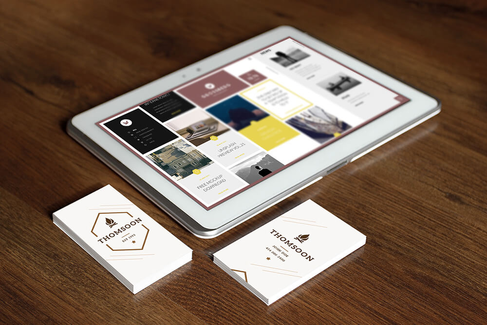 Free Business Card and Tablet Mockups PSD Template2