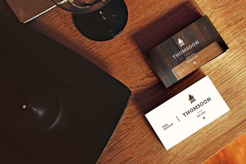 Free Business Card and Tablet Mockups PSD Template3
