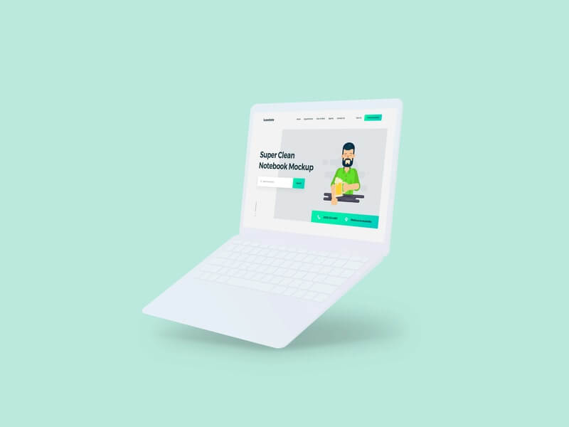 Free Clean Minimalistic Notebook Mockup PSD Template