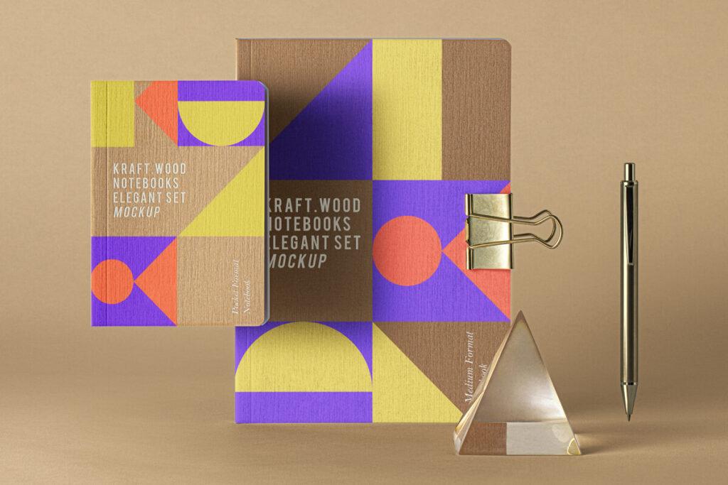 Free Creative Kraft Notebook Set Mockup PSD Template1