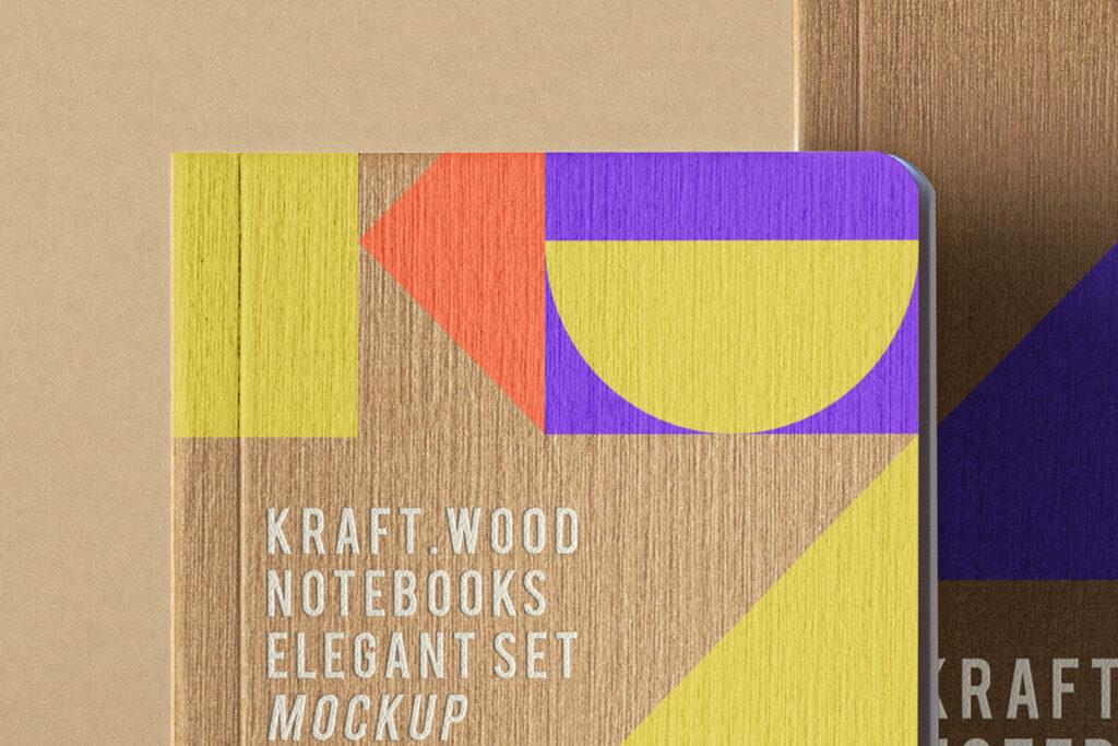 Free Creative Kraft Notebook Set Mockup PSD Template2