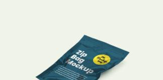 Free Creative Zip Bag Package Mockup PSD Template