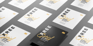 Free Customizable Grid Letter Brochure Mockup PSD Template1
