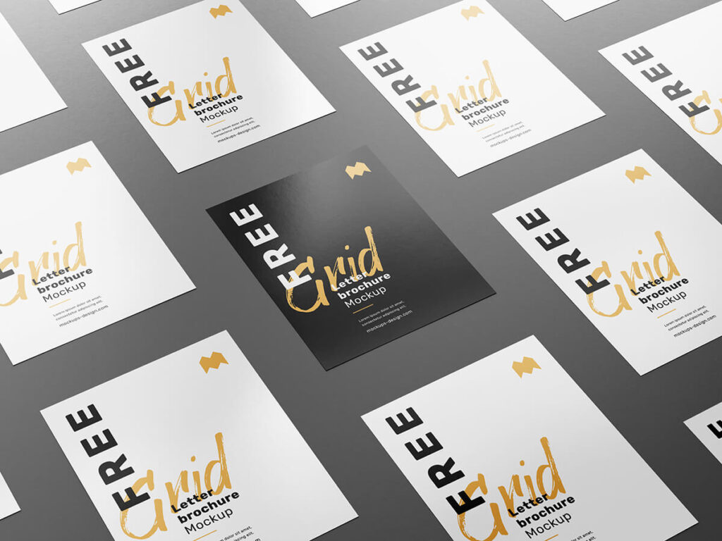 Free Customizable Grid Letter Brochure Mockup PSD Template2