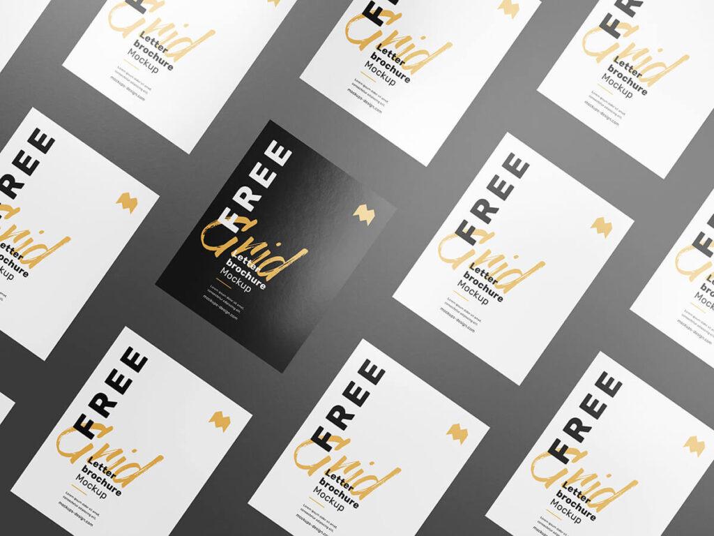 Free Customizable Grid Letter Brochure Mockup PSD Template3