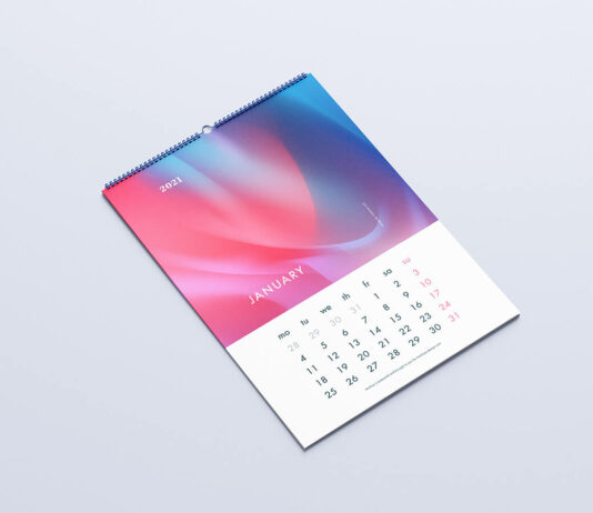 Free Customizable Wall Calendar Mockup PSD Template1