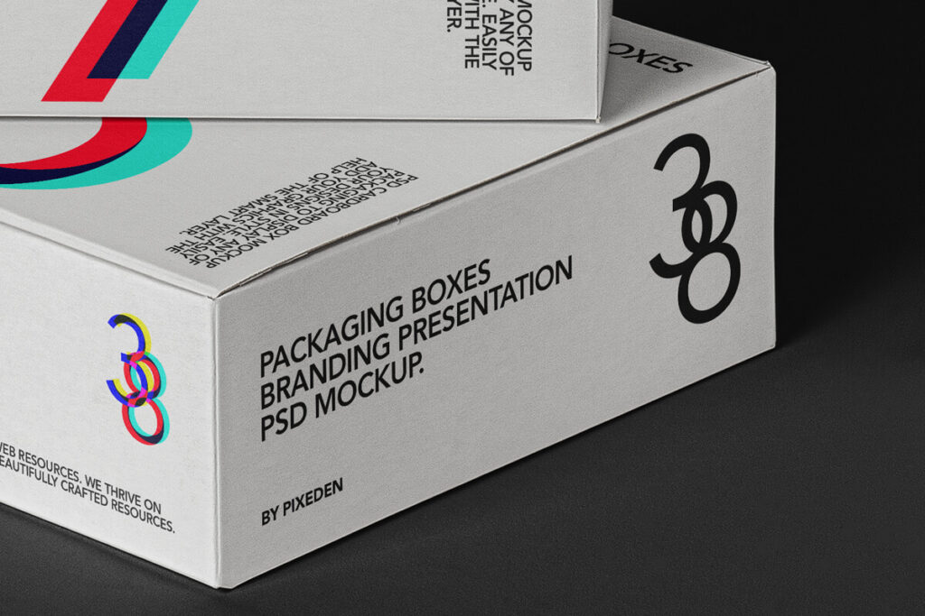 Free Editable Square Boxes Packaging Mockup PSD Template2