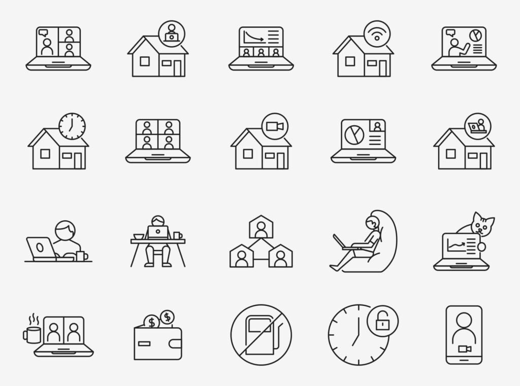Free Editable Work From Home Vector Icons