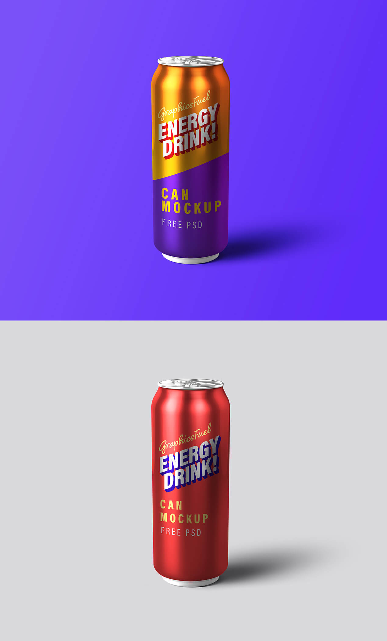 Free Energy Drink Can Mockup PSD Template