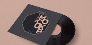 Free Fabric Textured Vinyl Record Mockup PSD Template1