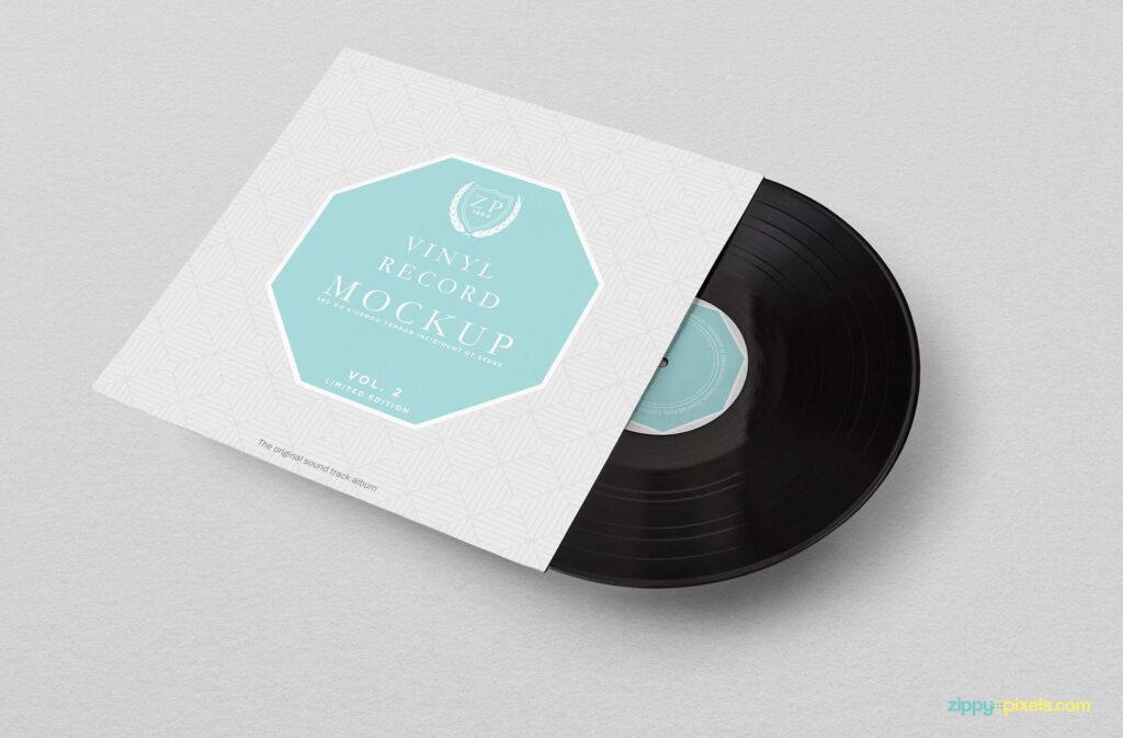 Free Fabric Textured Vinyl Record Mockup PSD Template3