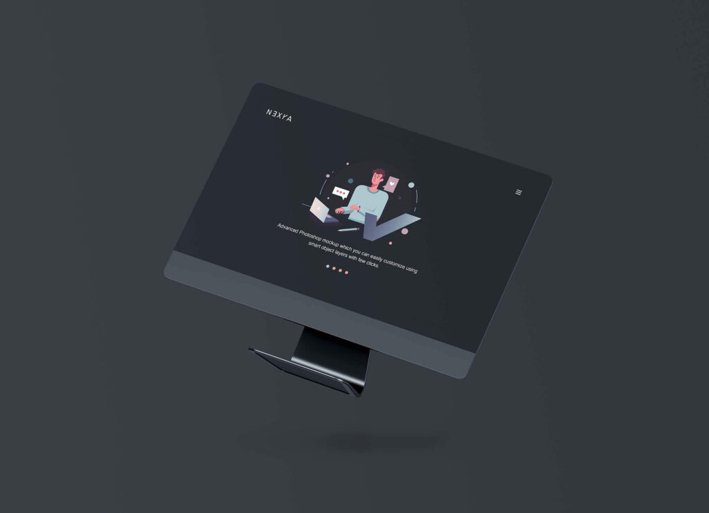 Free Floating Computer Screen Mockup PSD Template