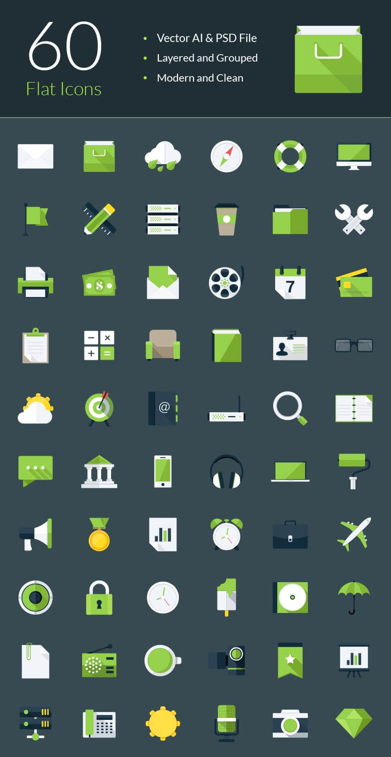 Free Fully Layered Modern Flat Vector Icons