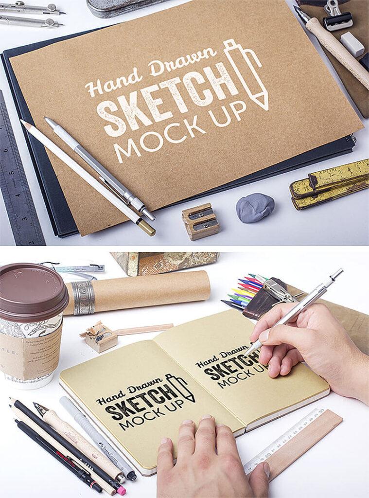 Free Hand Drawn Sketch Mockups PSD Template2