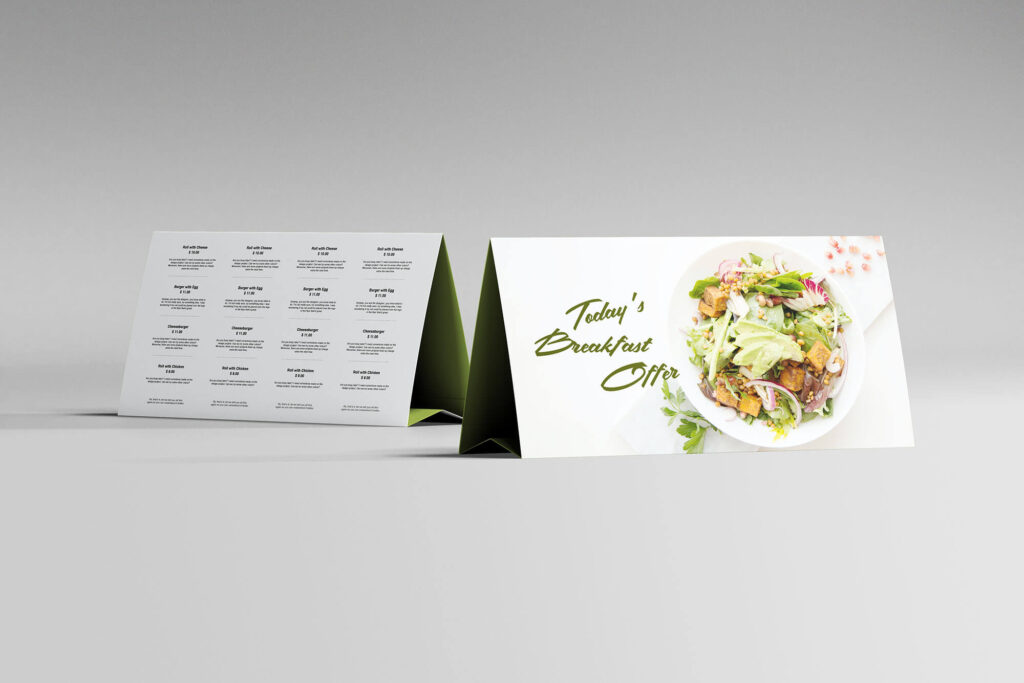 Free Horizontal Table Tent Mockup PSD Template