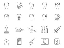 Free Illustrated 20 Dental Vector Icons
