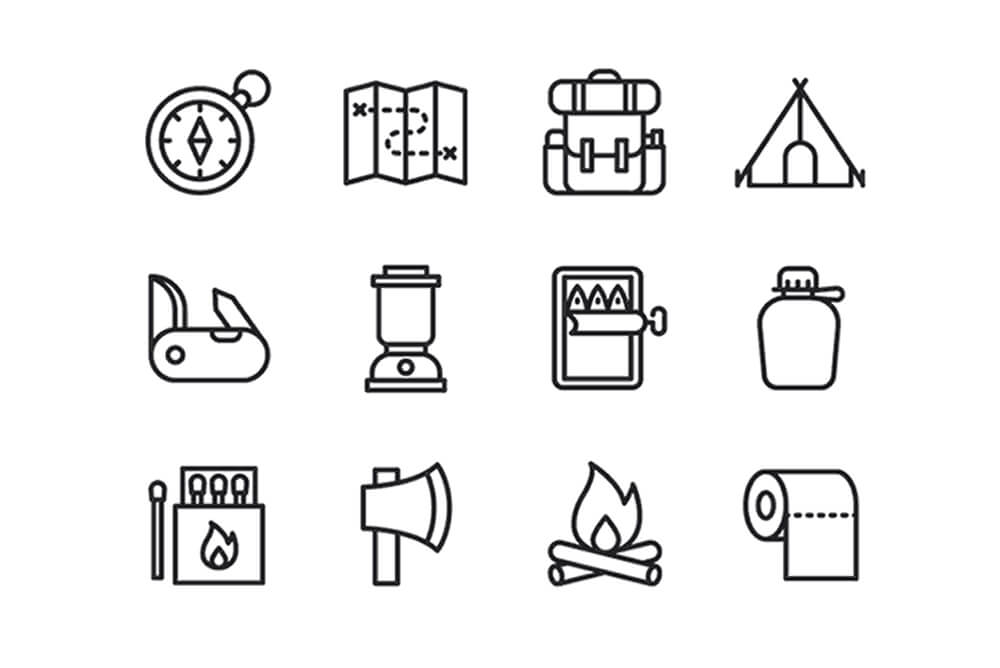 Free Latest Minimal Camping Vector Icons1