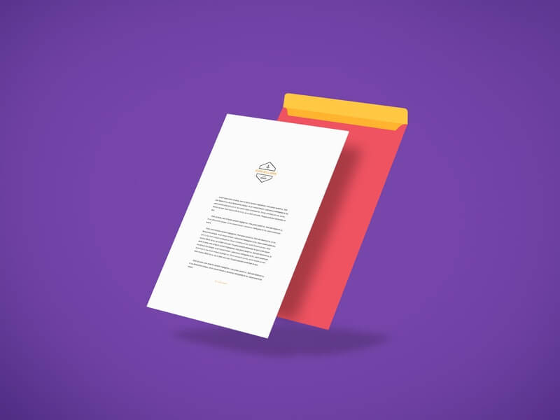 Free Letterhead Above Envelope Mockup PSD Template