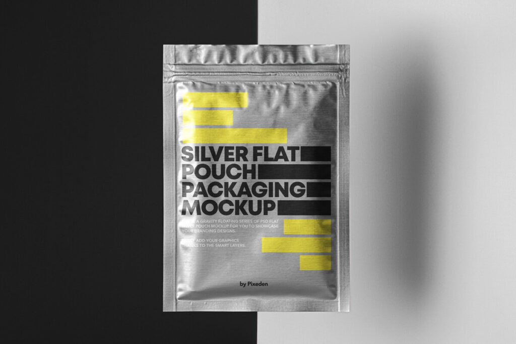 Free Metallic Flat Pouch Packaging Mockup PSD Template1