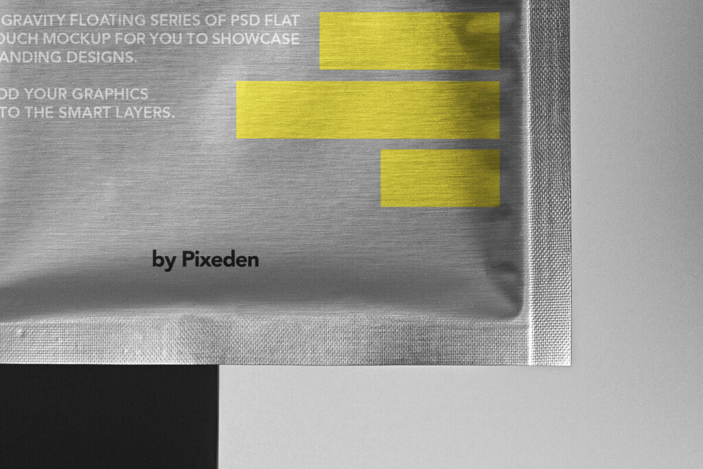 Free Metallic Flat Pouch Packaging Mockup PSD Template3