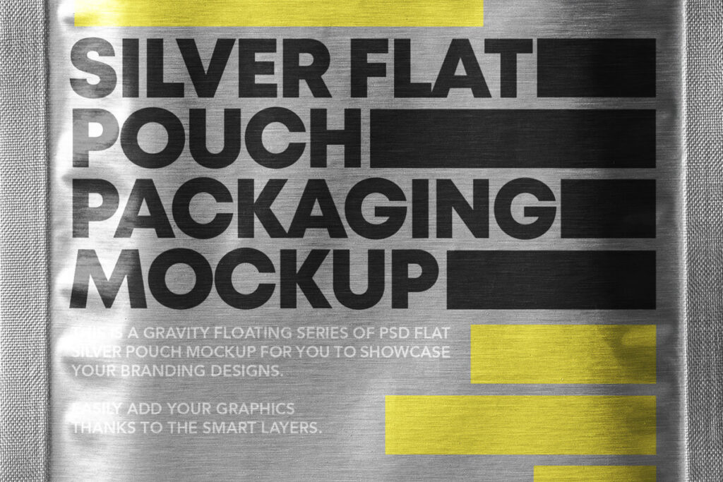 Free Metallic Flat Pouch Packaging Mockup PSD Template4