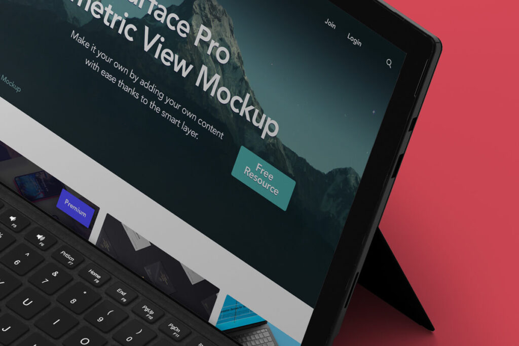 Free Modern Perspective Surface Pro Mockup PSD Template2