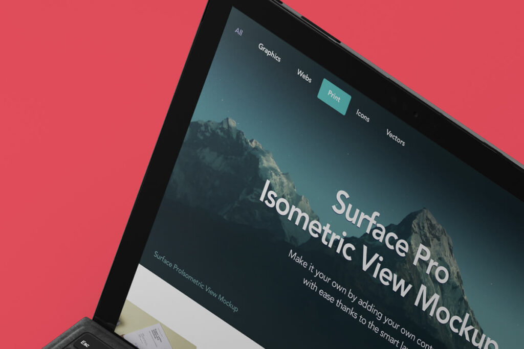 Free Modern Perspective Surface Pro Mockup PSD Template4