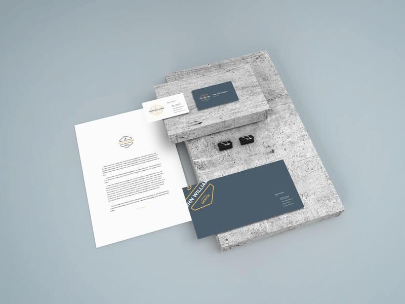Free Modern Stationery Scene Mockup PSD Template1